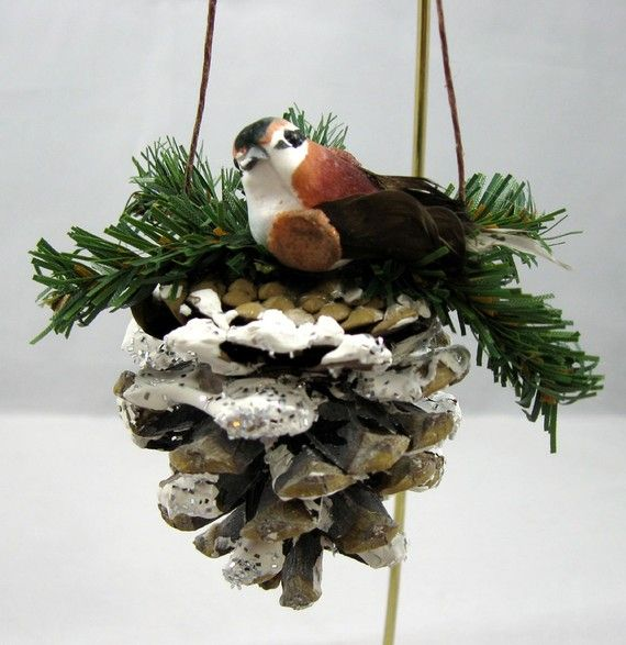 Pine Cone with Bird Christmas Ornament 103 by NoelBelles on Etsy