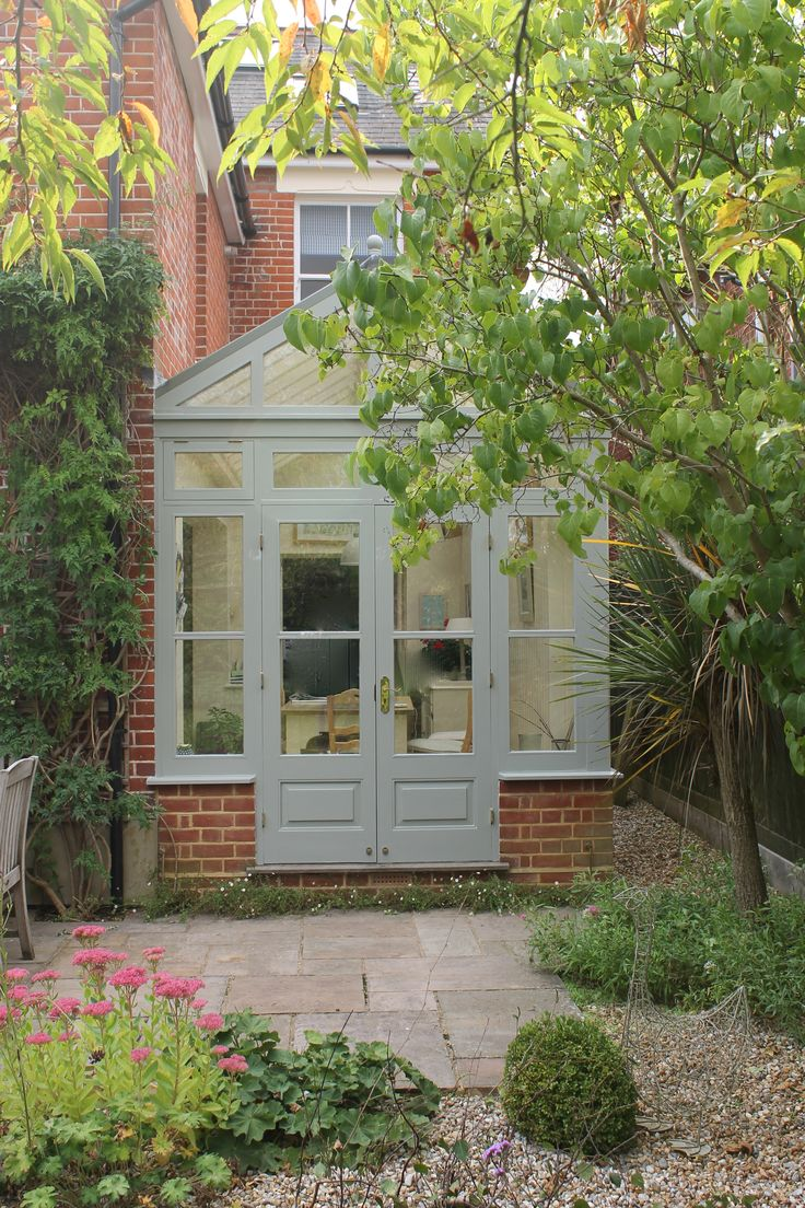Conservatory painted in Farrow and Ball Pigeon