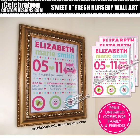 Owl Nursery Wall Art Birth Announcement - FREE RUSH SERVICE