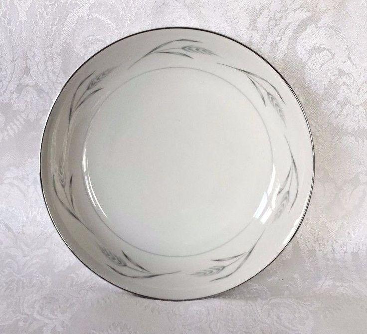 Rose China Bowl Dish Soup Fruit Salad Dinnerware Ivory Platinum Serene #2210 EUC #RoseChina