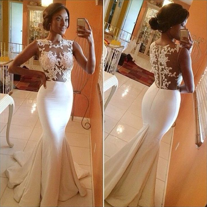 Lace Crochet Backless Mermaid Long Wedding Party Dress