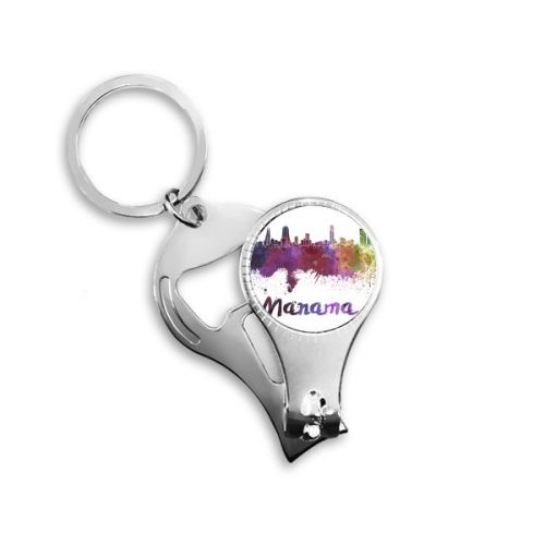 Manama Bahrain Country City Watercolor Illustration Metal Key Chain Ring Multi-function Nail Clippers Bottle Opener Car Keychain Best Charm Gift #NailClippers #Manama #Keychain #Bahrain #BottleOpener #Country #Car-styling #City #Keyring #Watercolor #Keyholder #Illustration #Gift