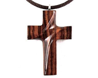 Wooden Cross Necklace, Wooden Cross Pendant, Mens Cross Necklace, Cross Necklace, Christian Jewelry, Wood Cross Pendant, Hand Carved Cross