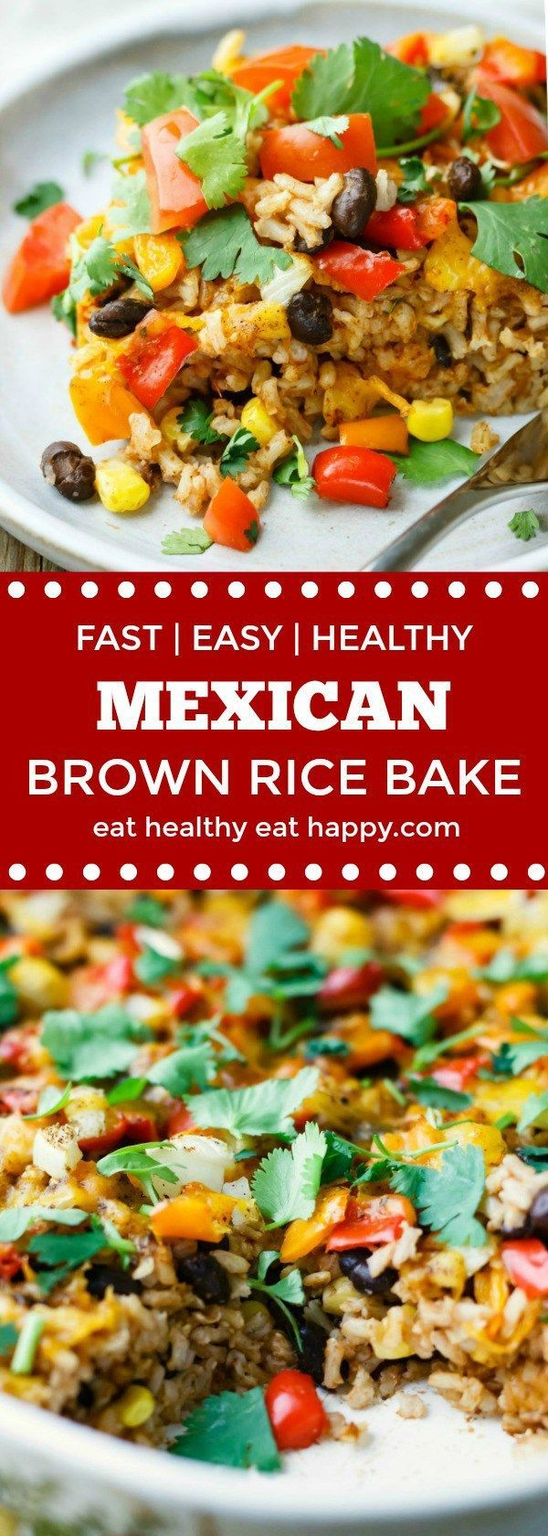 Easy Mexican Brown Rice Bake makes dinner healthy, fast and fun! Vegan, vegetarian, gluten free friendly, clean eating options.
