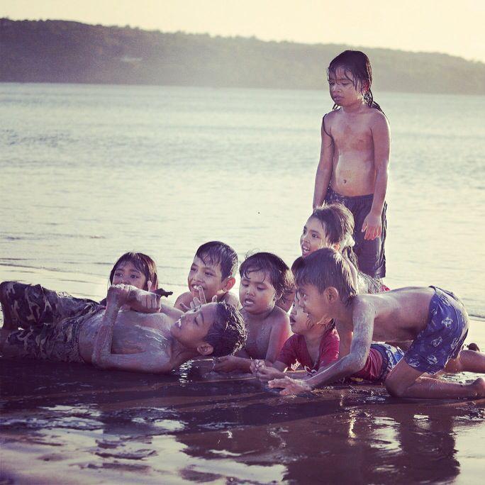 Balinese kids at Jimbaran beach