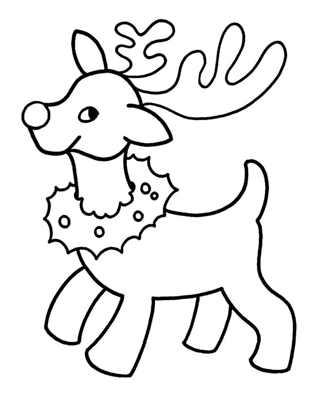christmas coloring sheets | ... Printables: Easy Pre-K Christmas Coloring Pages - Christmas Reindeer