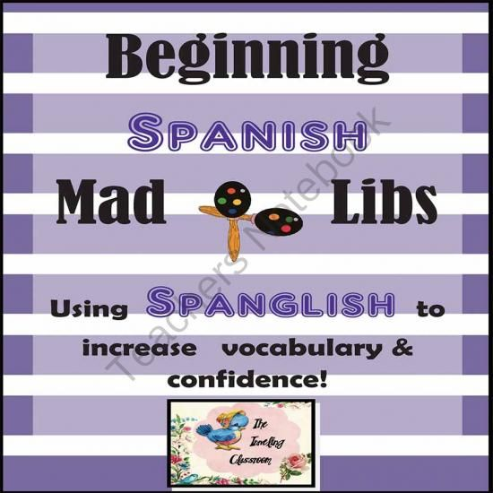 Beginning Spanish Mad Libs - Spanglish For Dual Language  - Beginning Spanish Mad Libs - Spanglish for the Dual Language Classroom!  Spanglish is a great way to get new Spanish speaking students to use their new vocabulary and boost their confidence!     This mad lib type resource can be used for students from 2nd grade to adult!     Everyone loves these!     Just print & go!  .  A GIVEAWAY promotion for Beginning Spanish Mad Libs - Spanglish for the Dual Language Classroom from…