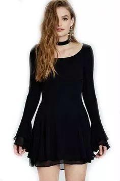 vestido corto casual  sexy mini negro moderno fiesta gotico