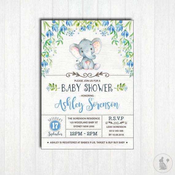 ELEPHANT Baby Shower Invitation. Printable. Baby Boy. Woodland Baby Shower Invite. Little Peanut. Blue Flowers. Jungle. Floral Shower