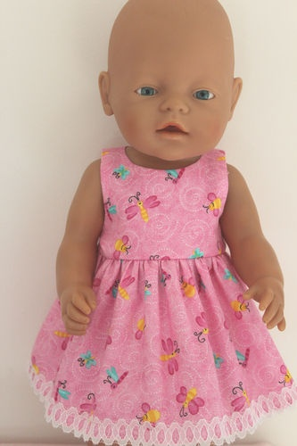Pink Bees, Butterflies & Dragonflies Dress fits baby born 43cm / 17in doll