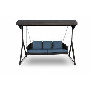 sturdy frame with canopy in synthetic rattan ideal for modern patio or garden furniture available at idus furniture store new delhi