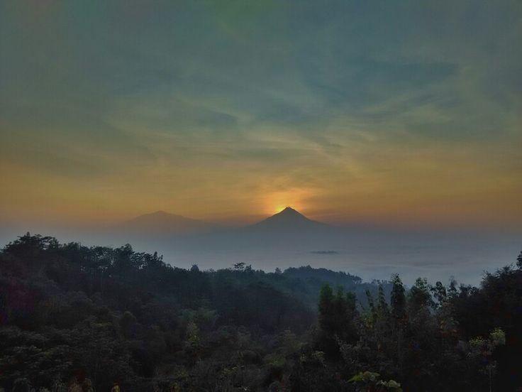 Sunrise behind Merapi mt.