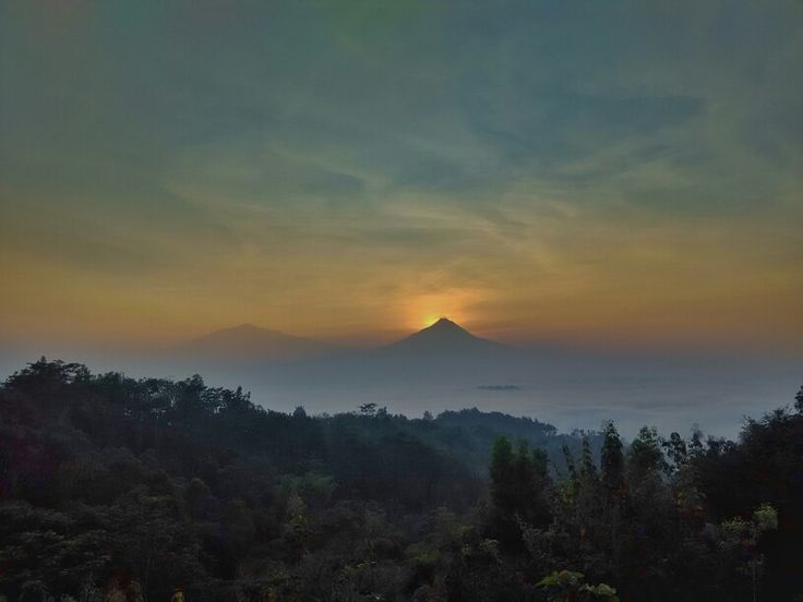 Sunrise behind Merapi mt.