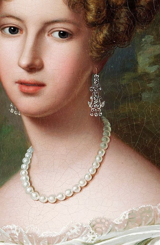 Fredrik Westin (1782-1862),  Woman with pearl necklace, detail
