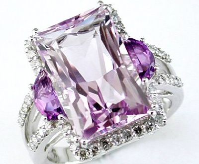 ❤ Women's Diamond & Amethyst Ring in 14K White Gold ❤