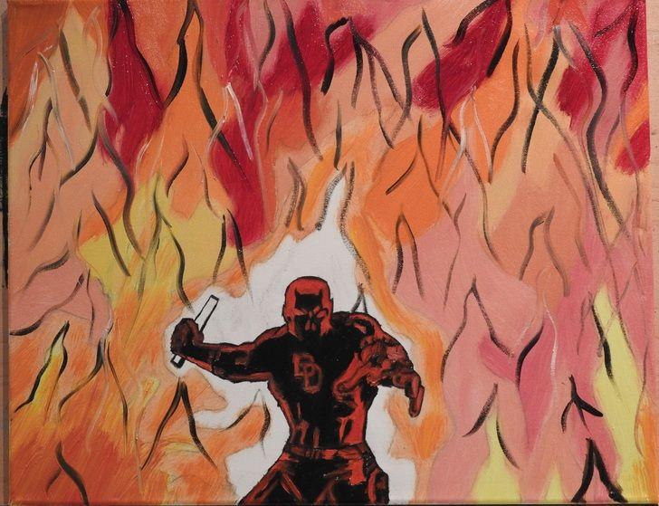 Daredevil, oil, 16x20