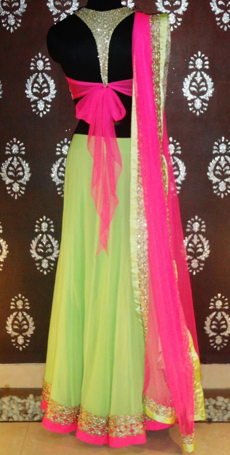 Neon Pink & Green #Ghagra #Choli. Vitamin by Sonalika Pradhan. Love The Blouse Back!
