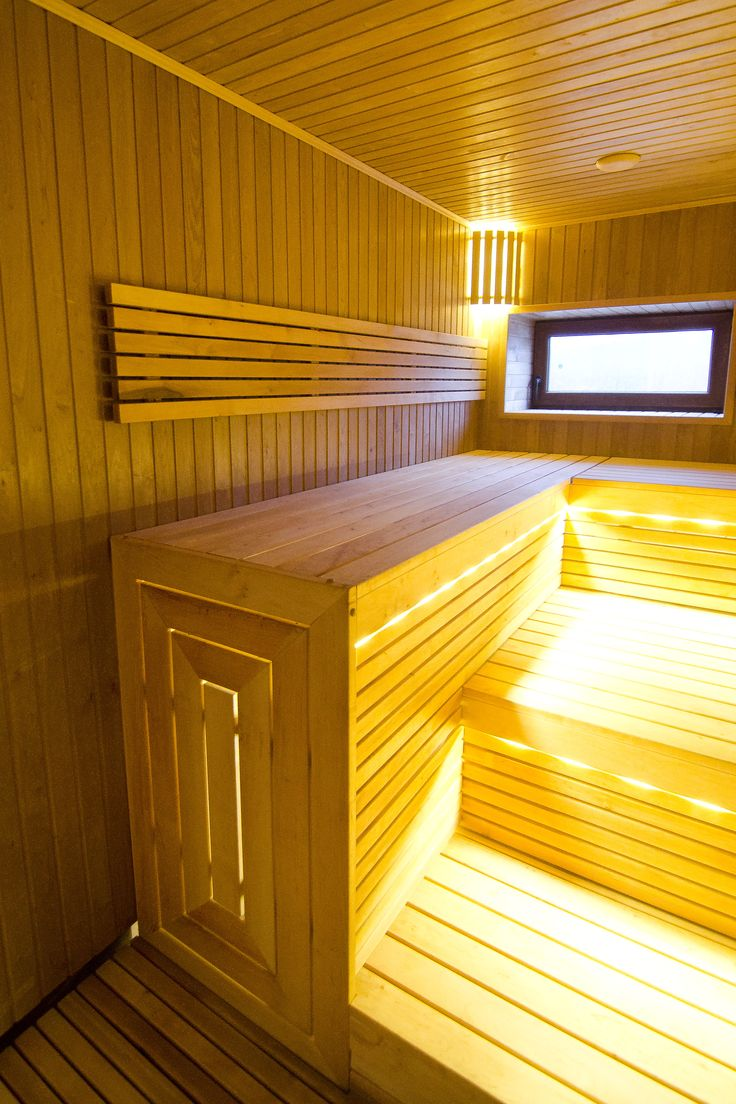 Sauna with three-story benches, closed stylistically. Highest quality alder wood. LED lighting. http://www.esaunashop.com/en Individual project.