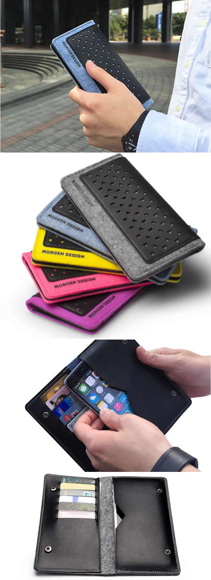 Genuine Leather and Wool Felt Wallet Protective Case Cover with Credit Card Holder For iPhone 6/6S Plus iPhone7/7 plus
