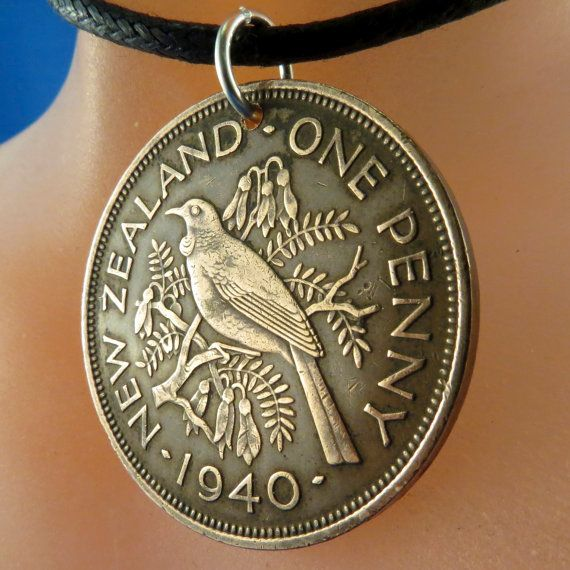 coin necklace NEW ZEALAND pendant jewelry Tui bird  penny 1940 charm. animal coin  No.00881 -2