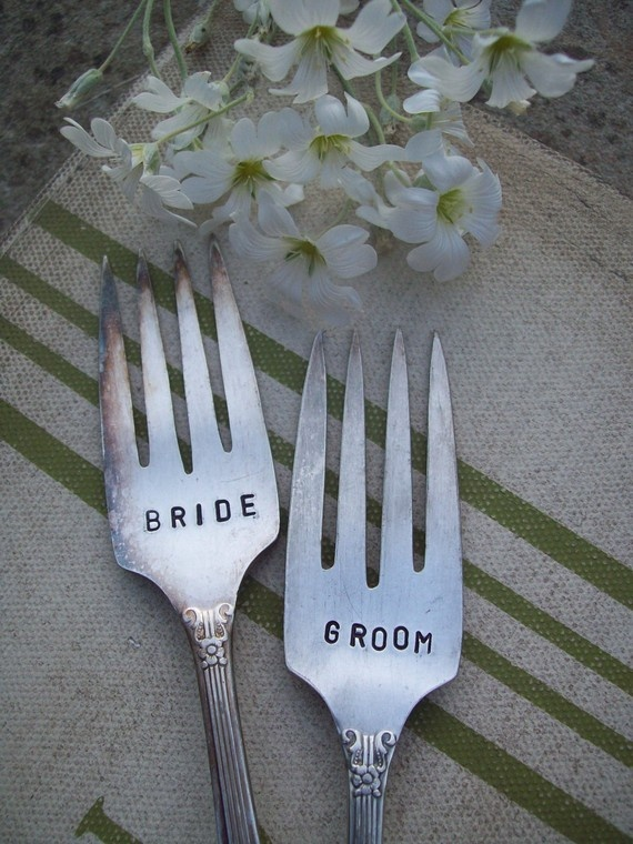 18 best wine and cheese table setup images on pinterest cheese items similar to bride and groom table marker hand stamped vintage wedding fork set on etsy sciox Images
