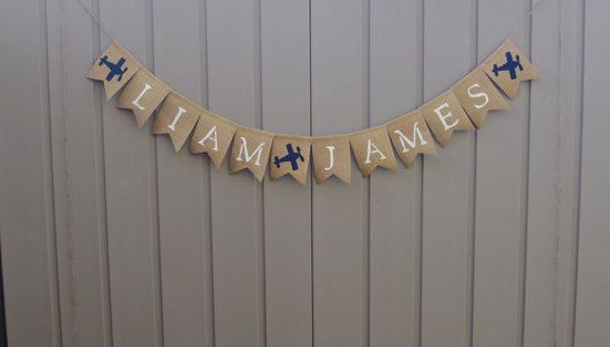 Personalized Baby Name Banner Airplane Nursery  by LittleBitLefty
