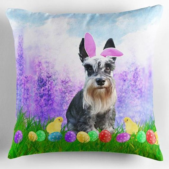 #Miniature #Schnauzer #Dog Easter Bunny Ears Easter Egg #Pillow #animal #doggy