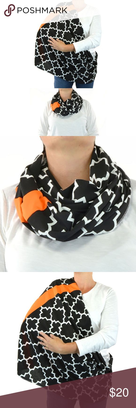 Infinity Nursing Scarf Black Orange Quatrefoil Nursing Infinity Scarf Black Orange Quatrefoil Plaid  ~Handmade Quatrefoil Plaid Infinity Scarf  ~Made with care of poly/cotton blend, making it the perfect soft warm scarf. ~Perfect for quick nursing and double over for fashion infinity scarf.  Perfect Black Nursing Infinity Scarf Orange Quatrefoil Plaid Handmade Accessories Scarves & Wraps