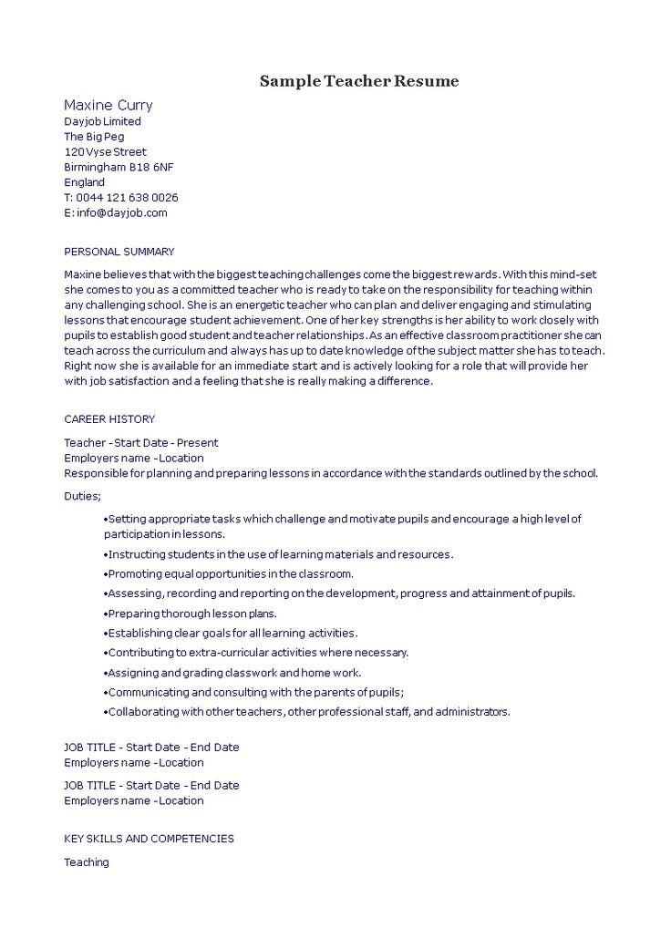 Sample Teacher Resume How to draft a Teacher Resume
