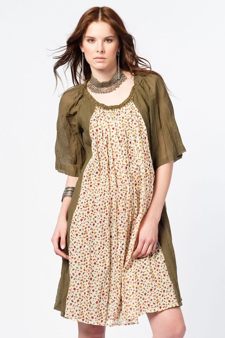 Otantik Foça Elbise - Haki