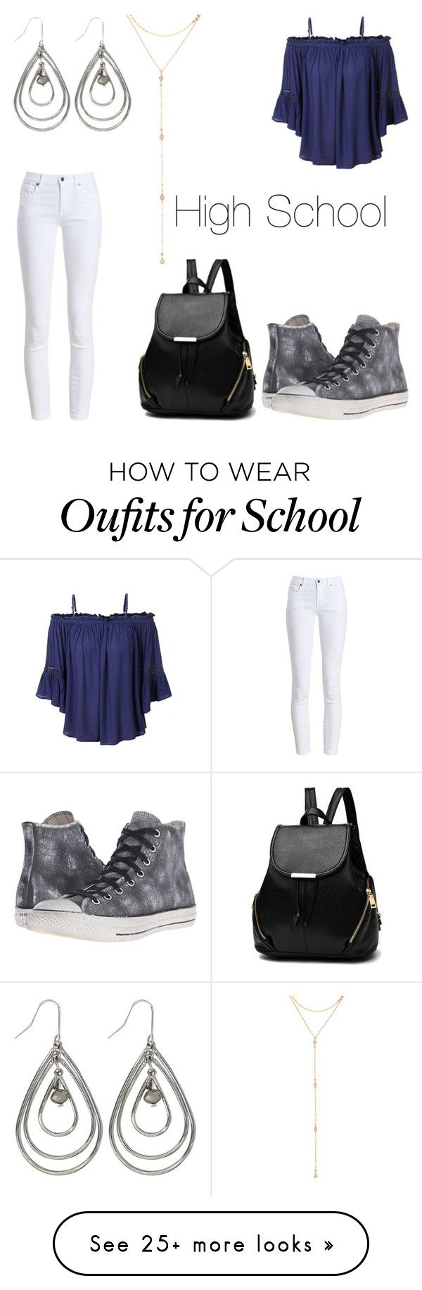 """High School"" by xhermelienx on Polyvore featuring Barbour, LE3NO, Converse, M&Co and Fragments"