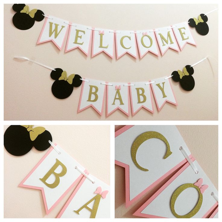A personal favorite from my Etsy shop https://www.etsy.com/ca/listing/271843250/minnie-mouse-baby-shower-banner-minnie