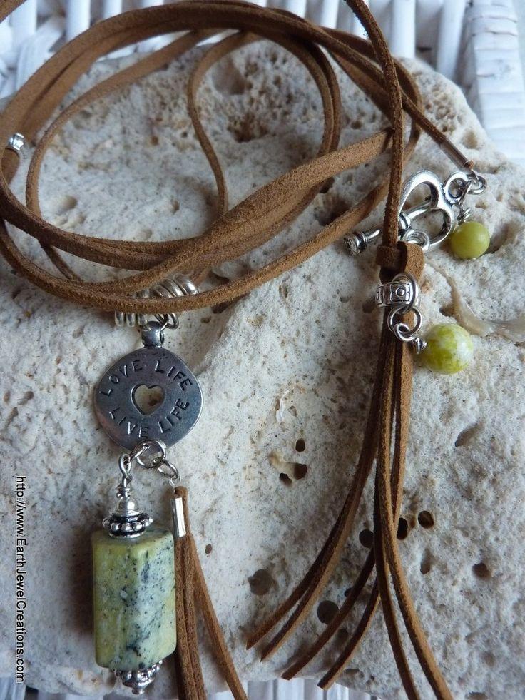$99 - Chrysocolla Suede Pendant - Inspirational handmade gemstone jewellery Earth Jewel Creations Australia