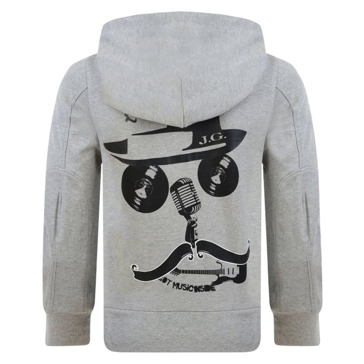 John Galliano Boys Grey Hooded Sweatshirt with Black Trimming and Rock n Roll Face Print