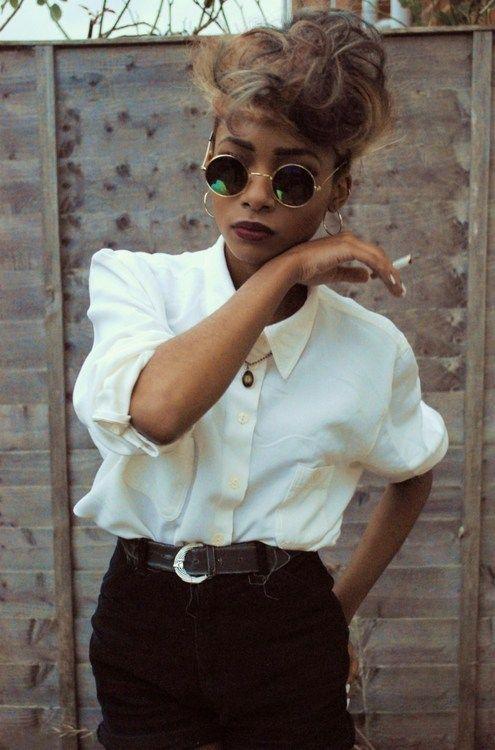 girl Smoking shirt sunglasses poc personal style cool kids nyane lebajoa