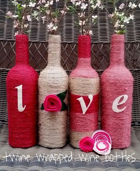 twine wrapped wine bottles