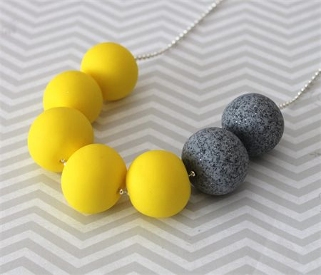 Bright lemon yellow and grey granite polymer clay bead necklace