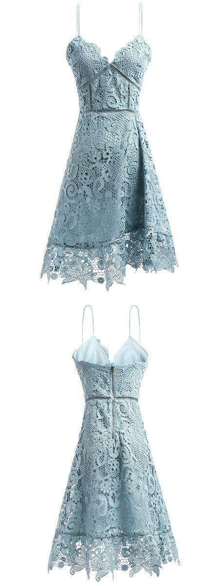 Blue Spaghetti Strap Sweetheart Cutwork Crochet Lace Mini Dress