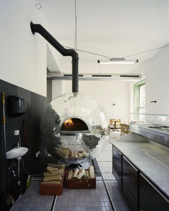 Disco Ball Pizza Oven. Haha, cool, but probably wouldn't add this to my home.
