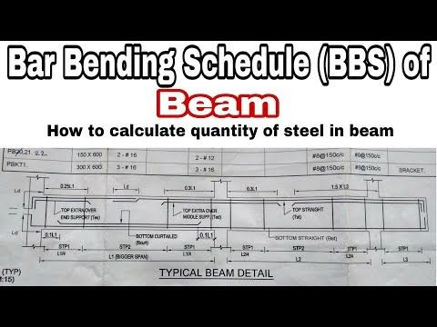 Bar Bending Schedule (BBS) of Beam | How to calculate steel quantity