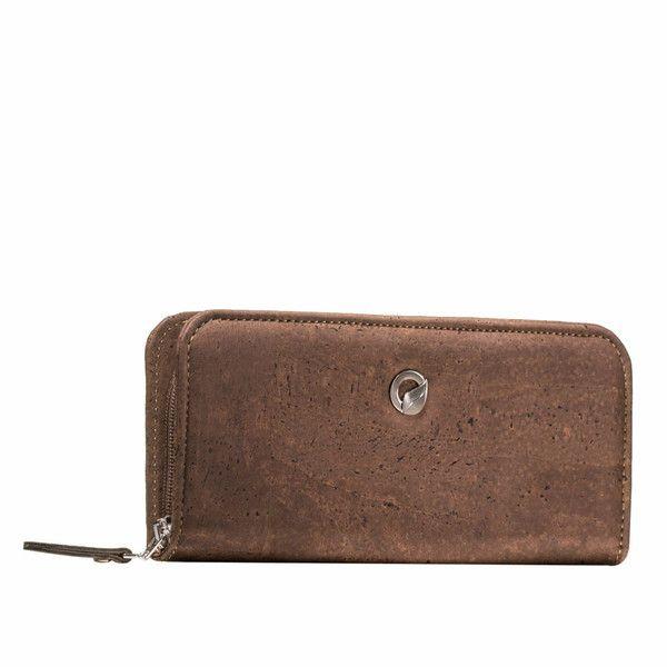 Cork Wallet for Women Zip Around Brown