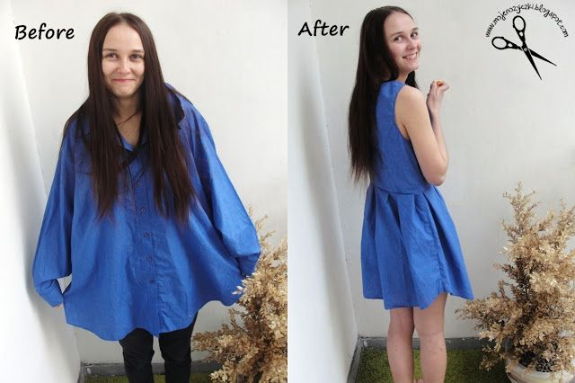 How the man's shirt to sew a dress ? Refashiion clothers ideas, step by step, tutorial, diy