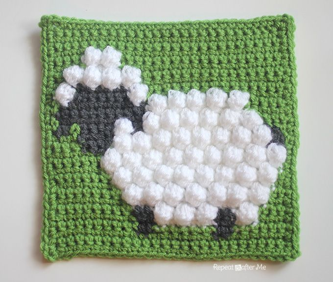 Repeat Crafter Me: Crochet Bobble Stitch Sheep Square.  This would be so cute incorporated into a baby afghan!