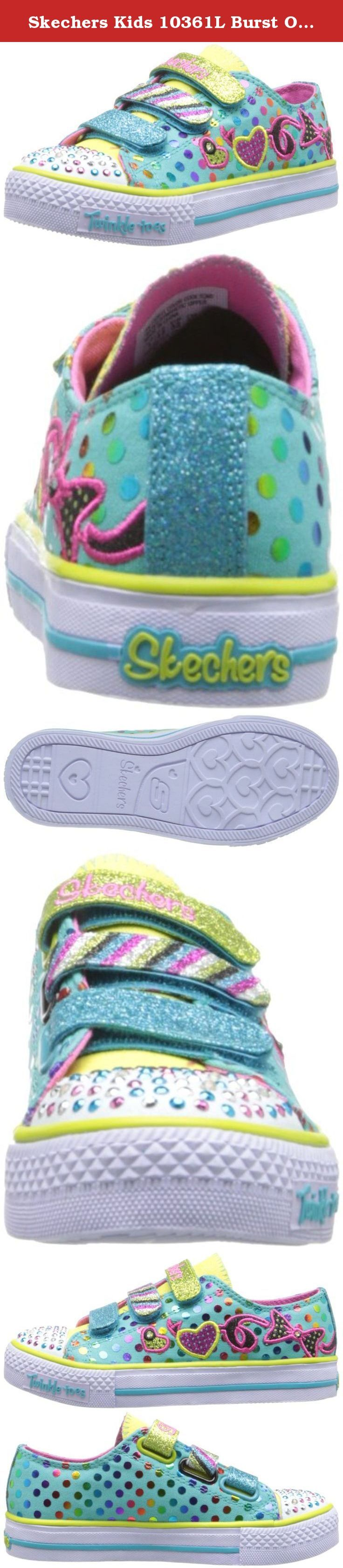 Skechers Kids 10361L Burst O' Fun Light-Up Sneaker (Little Kid). Girl's Skechers, S Lights Shuffles Burst O Fun Light Up Shoe Add a burst of flair to her look with these dazzling shoes! Fabric and manmade upper with glitter for added appeal Rubber toe cap and side features rhinestones and lights that blink with every step Three adjustable hook and loop closure straps for an easy on and off Fabric lining with a cushioned footbed for added comfort Shock absorbing midsole with a rubber outsole.