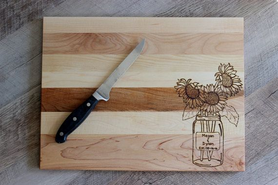 Engraved Cutting Board  Sunflower Cutting Board by FIREArtbykatrin