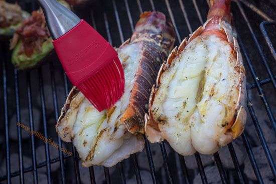 Grilling lobster tail over direct charcoal heat - Grilling24x7.com