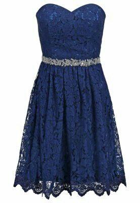Kanten jurk blauw zalando