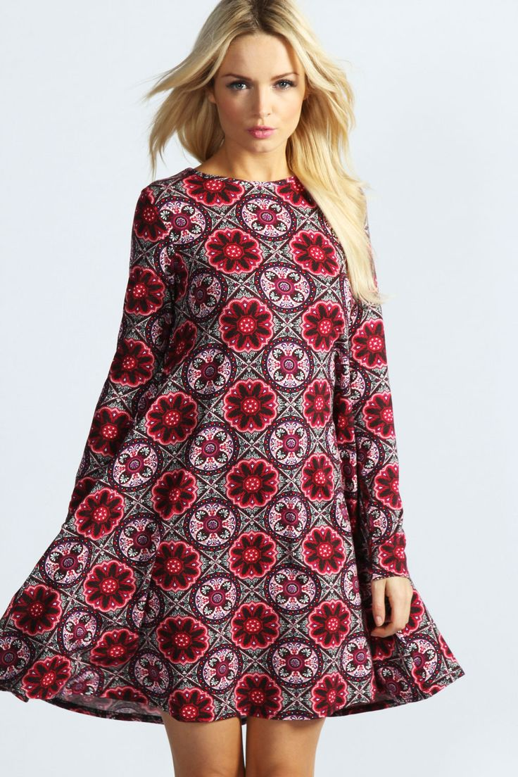 Paisley Long Sleeve Swing Dress