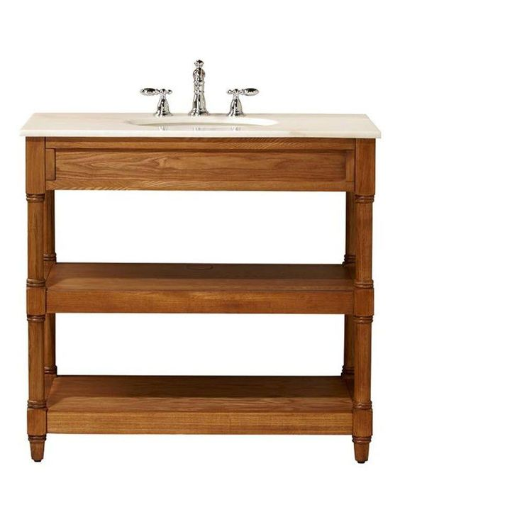 D Open Vanity Cabinet in Weathered Oak with Marble Vanity Top in White  0417110560 at The. Bathroom Item Beginning With K