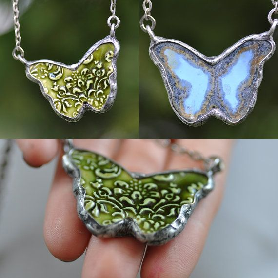 butterfly ceramic two sided necklace ceramic jewelry by zolanna